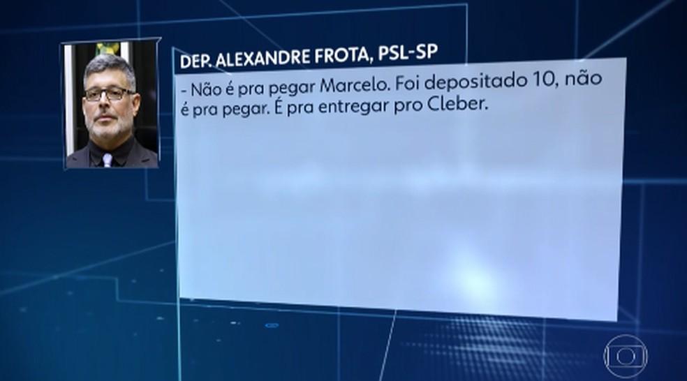 Diálogo entre Frota e seu ex-motorista, que o denuncia ao Ministério Público — Foto: Reprodução/ Jornal Nacional