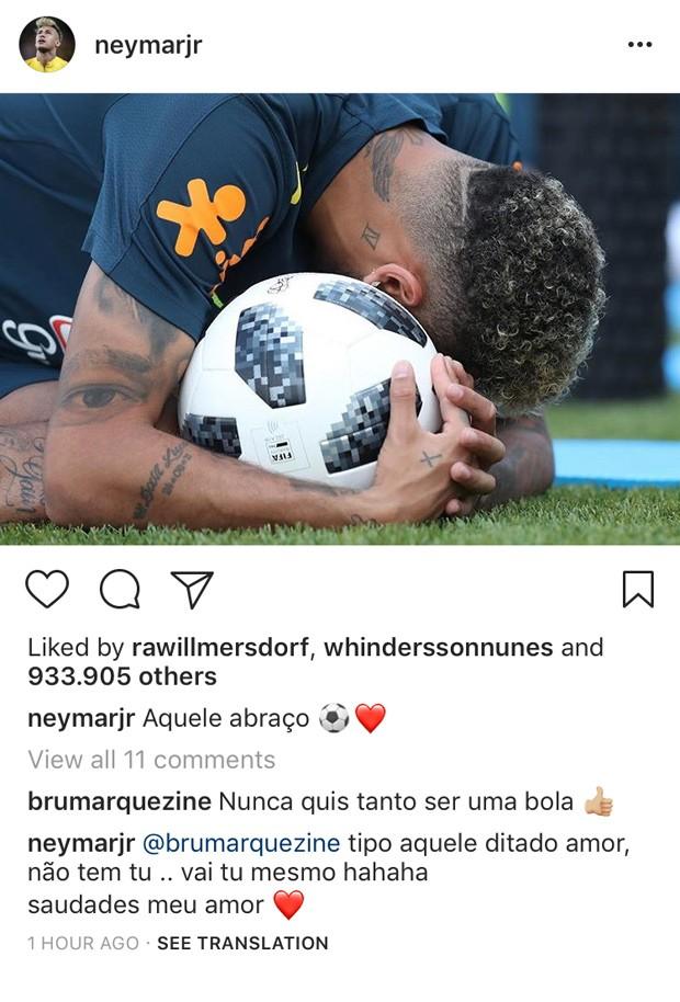 A conversa de Neymar e Bruna no post do jogador (Foto: Reprodução Instagram)