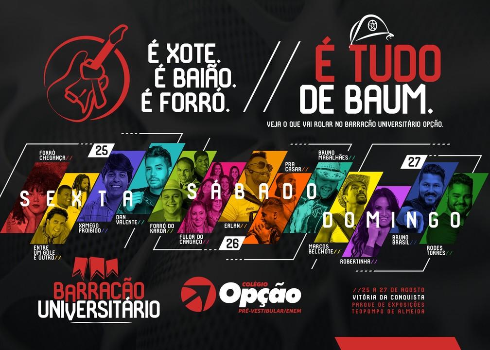 Divulgadas atrações do Barracão Universitário (Foto: Arte / Divulgação)