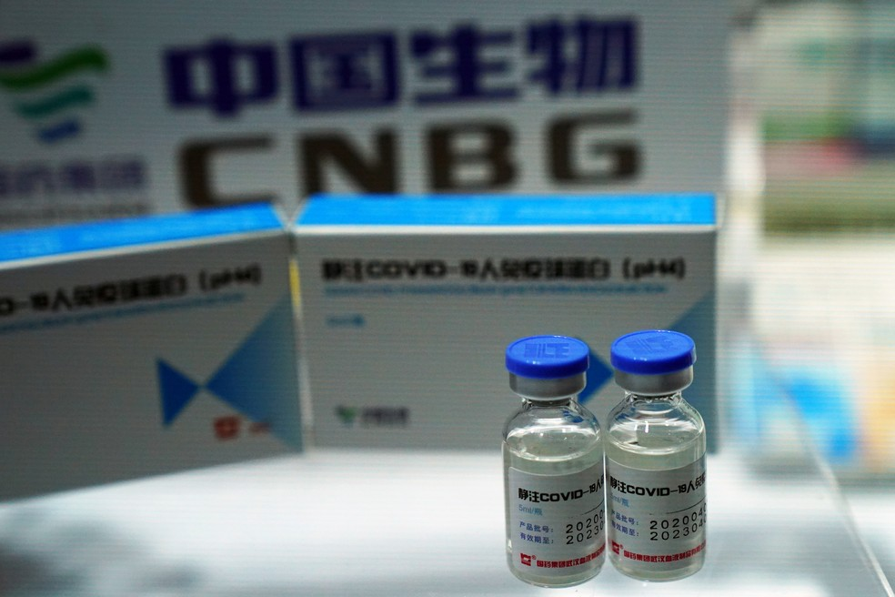 Uma candidata à vacina contra o coronavírus da China National Biotec Group (CNBG), unidade do gigante farmacêutico estatal China National Pharmaceutical Group (Sinopharm), é vista na Feira Internacional de Comércio de Serviços da China (CIFTIS) em Pequim, na China, em 4 de setembro — Foto: Tingshu Wang/Reuters