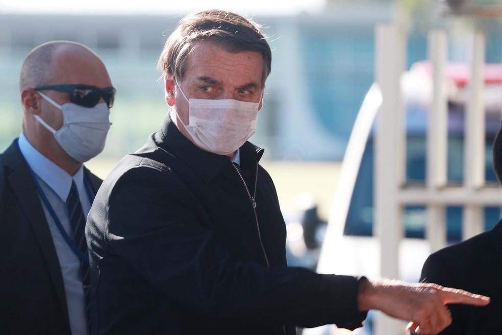Justiça Federal obriga o presidente Jair Bolsonaro a usar máscara no DF — Foto: FREDERICO BRASIL/FUTURA PRESS/FUTURA PRESS/ESTADÃO CONTEÚDO