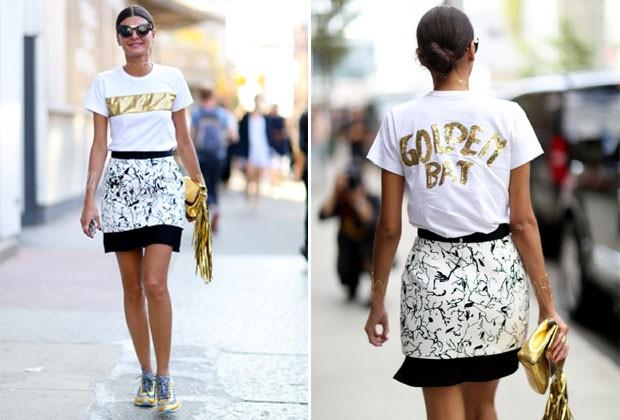 A editora de moda Giovanna Battaglia passou uma mensagem literal com sua camiseta (Foto: Imaxtree)