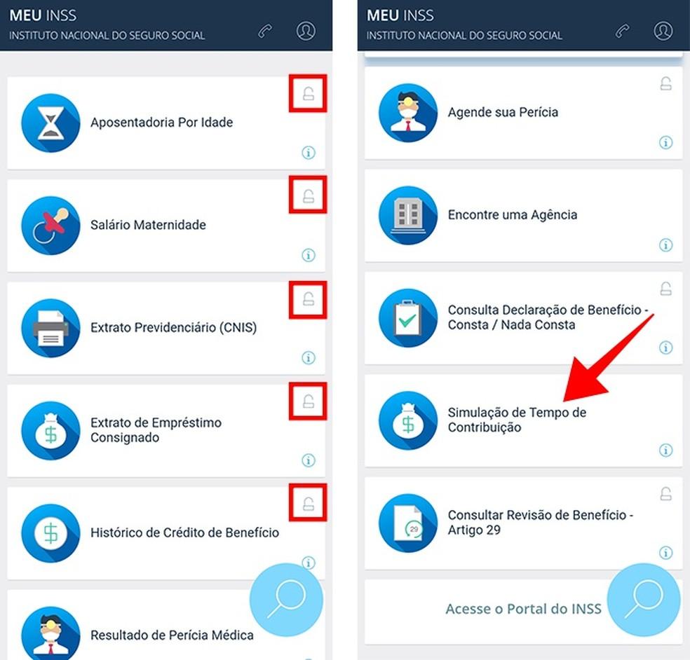 Desbloqueie funções do app Meu INSS e consulte o simulador automático (Foto: Reprodução/Paulo Alves)