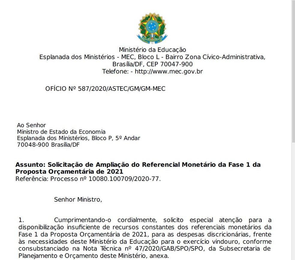 Trecho do ofício do MEC solicitando ampliação de orçamento para 2021 — Foto: Reprodução