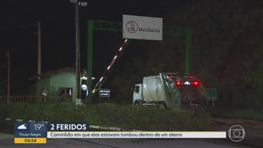 Caminhão tomba e deixa 2 feridos no aterro sanitário de Sabará, na Grande BH