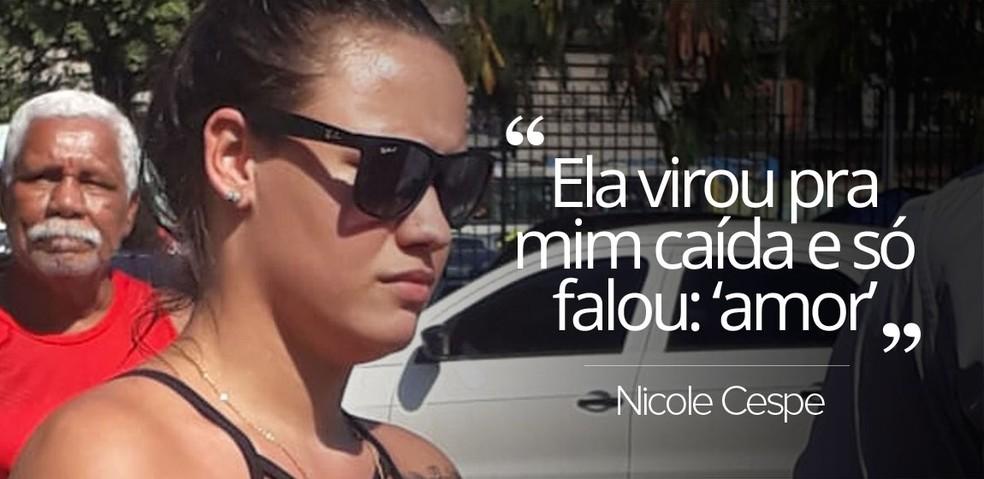 Nicole Cespe estava com a namorada no momento em que criminosos atiraram (Foto: Daiene dos Santos/G1)
