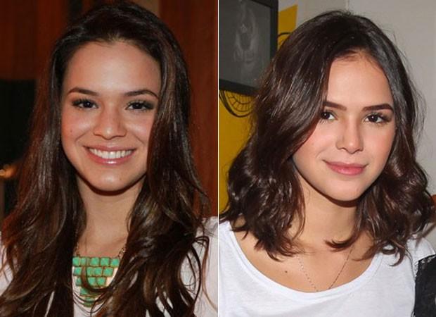 Bruna: antes e depois da cirurgia no nariz  (Foto: CLAYTON MILITÃO/FOTO RIO NEWS e MANUELA SCARPA/BRAZIL NEWS)