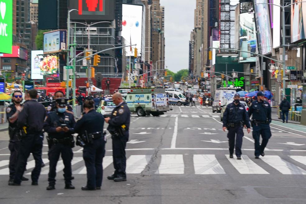 Tiroteio em Times Square deixou duas mulheres e uma criança feridas  — Foto: David Dee Delgado/Getty Images/AFP