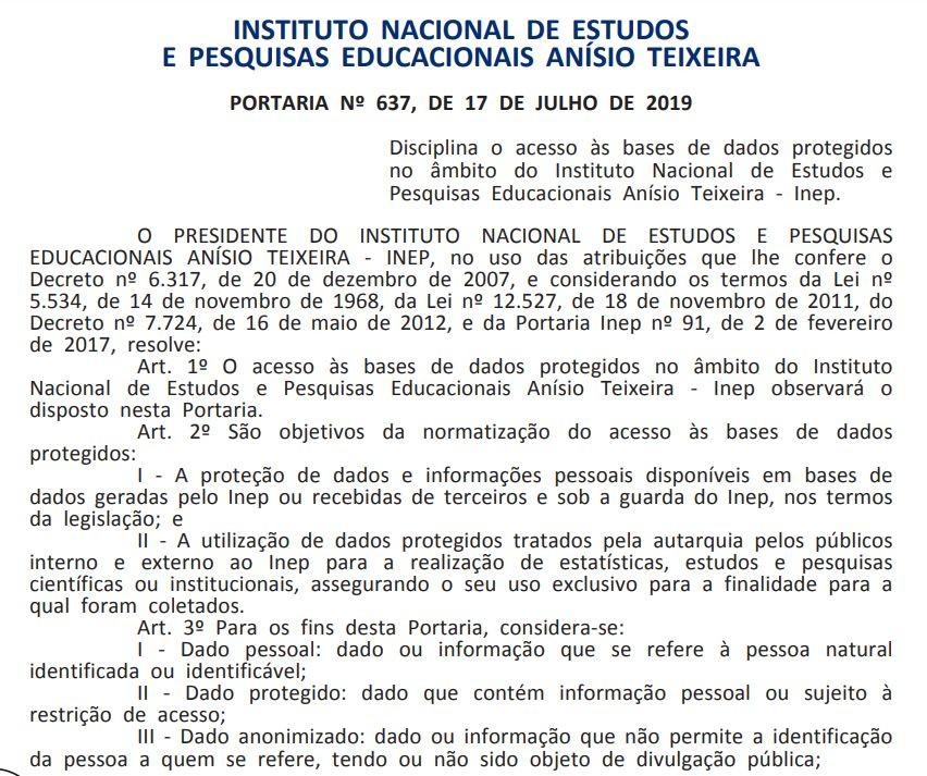 Inep publica novas normas de acesso a dados sigilosos - Notícias - Plantão Diário