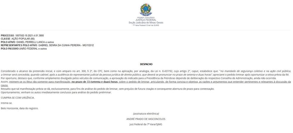 Juiz federal determina que Bolsonaro explique indicação para presidência da Petrobras — Foto: TRF 1ª Região/Reprodução
