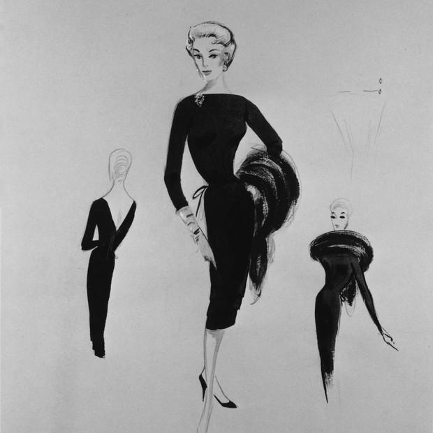 Desenhos de figurino para a personagem da atriz Eva Marie Saint no filme Intriga Internacional (1959), de Alfred Hitchcock  (Foto: Alfred Hitchcock Papers, Margaret Herrick Library)