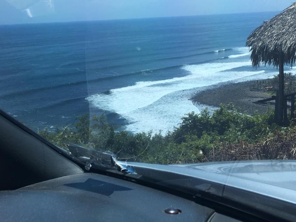 Uma das muitas ondas perfeitas de El Salvador — Foto: arquivo pessoal