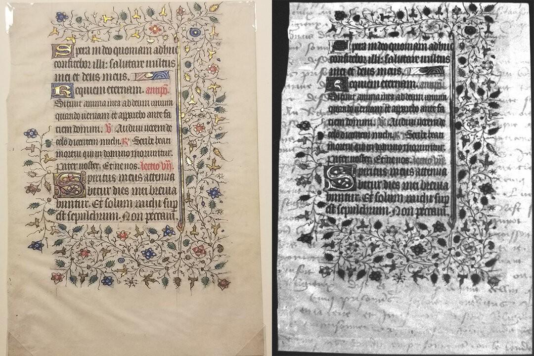 Usando imagens ultravioleta, os alunos descobriram um pergaminho escondido na escrita medieval (Foto: Rochester Institute of Technology)