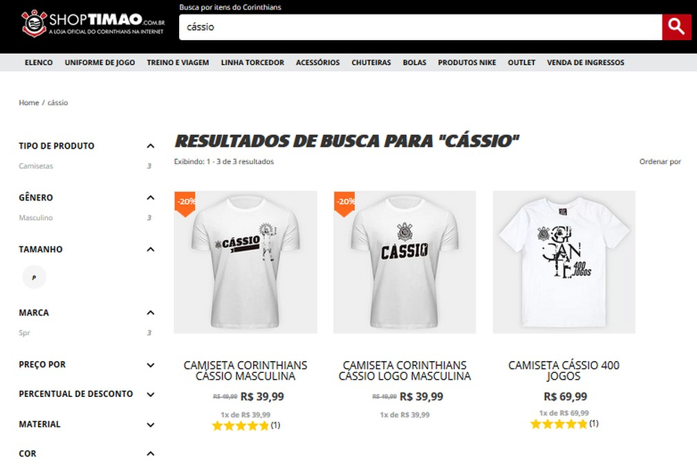 Imagens de produtos ligados a Cássio vendidos na ShopTimão — Foto: Reprodução