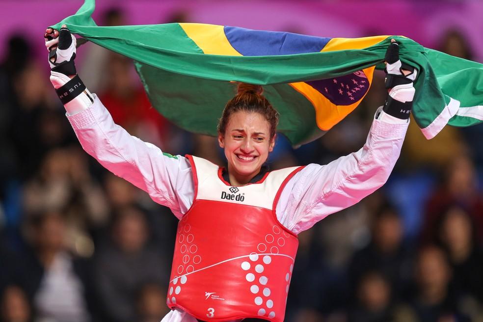 Milena Titoneli ouro taekwondo Pan de Lima — Foto: Abelardo Mendes Jr/ rededoesporte.gov.br