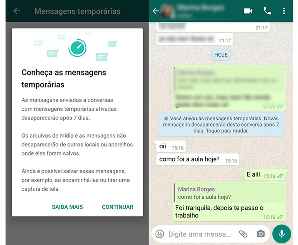Mensagens temporárias podem ser expostas por outros usuários — Foto: Reprodução/ Marcela Franco