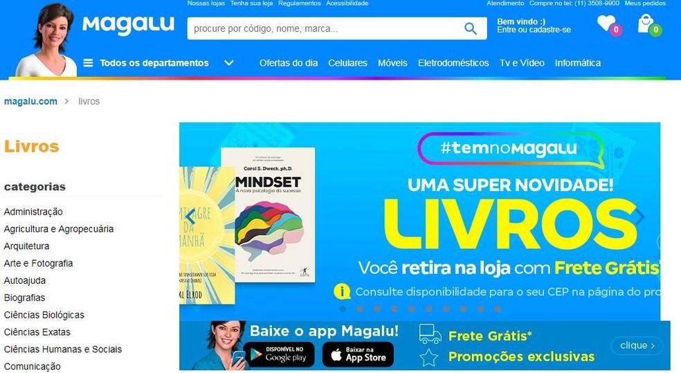 Site da Magazine Luiza passa a vender livros — Foto: Reprodução