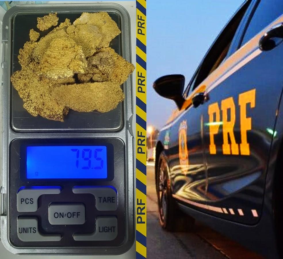 Homem foi preso com quase 80 gramas de ouro escondidos dentro do sapato dele durante uma abordagem policial na noite de sábado (12) na BR-174 em Pontes e Lacerda — Foto: Polícia Rodoviária Federal de Mato Grosso/Assessoria