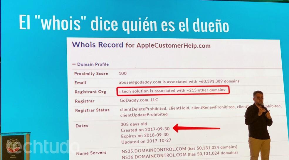 Plataforma whois mostra site, que usa nome da Apple, mas foi criado para golpe (Foto: Nicolly Vimercate/TechTudo)