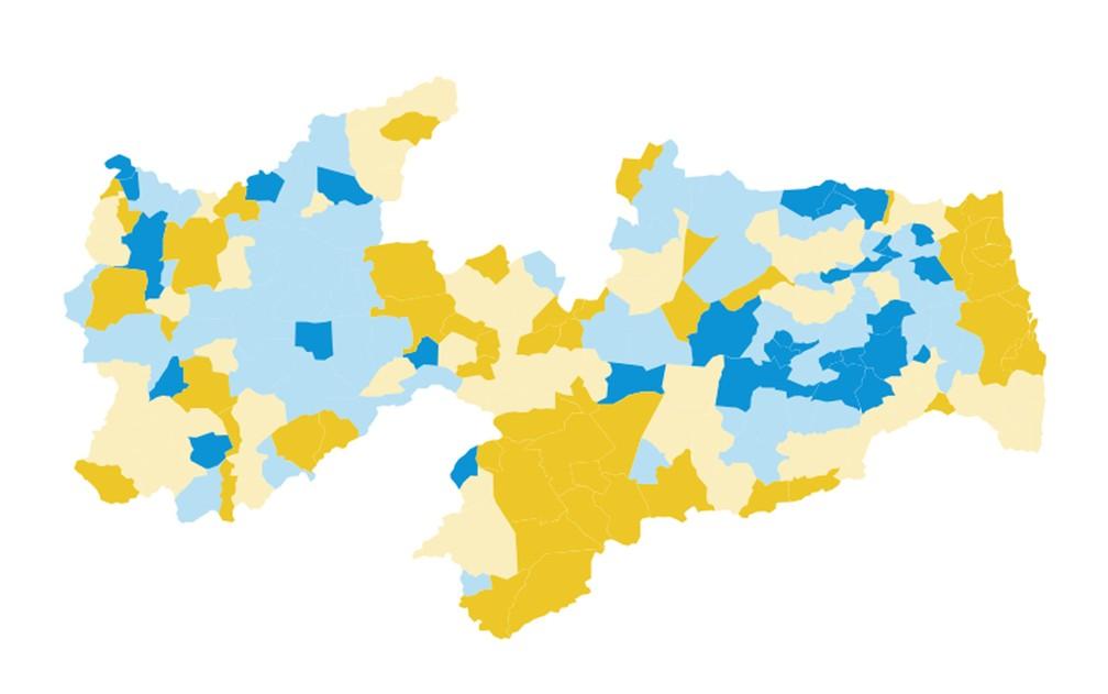 Mapa dos votos do segundo turno para governador na Paraíba em 2014 — Foto: Arte / G1