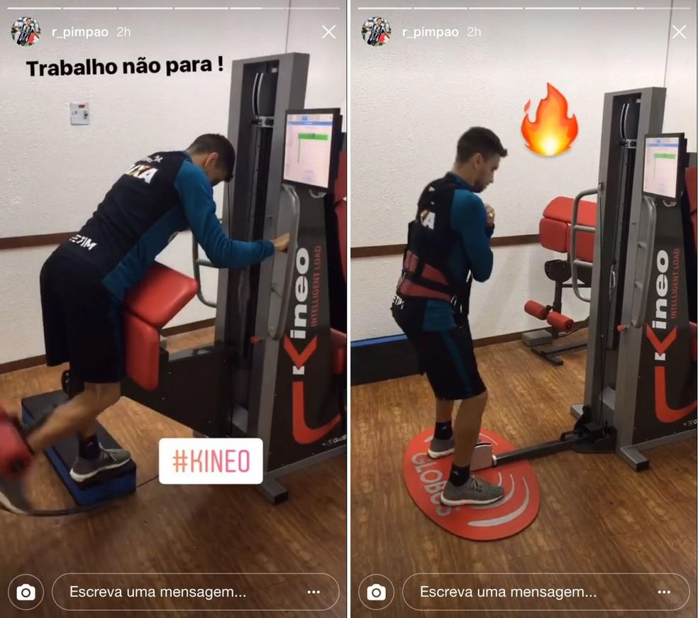 Pimpão também já registrou seu treino de flexão e agachamento no Kineo (Foto: Reprodução)