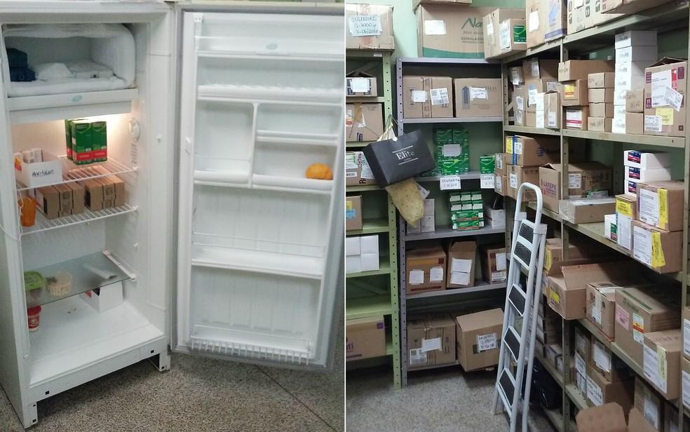 Frutas e alimentos na geladeira destinada aos medicamentos na farmácia municipal de Sertãozinho, SP  (Foto: TCE-SP/Divulgação)