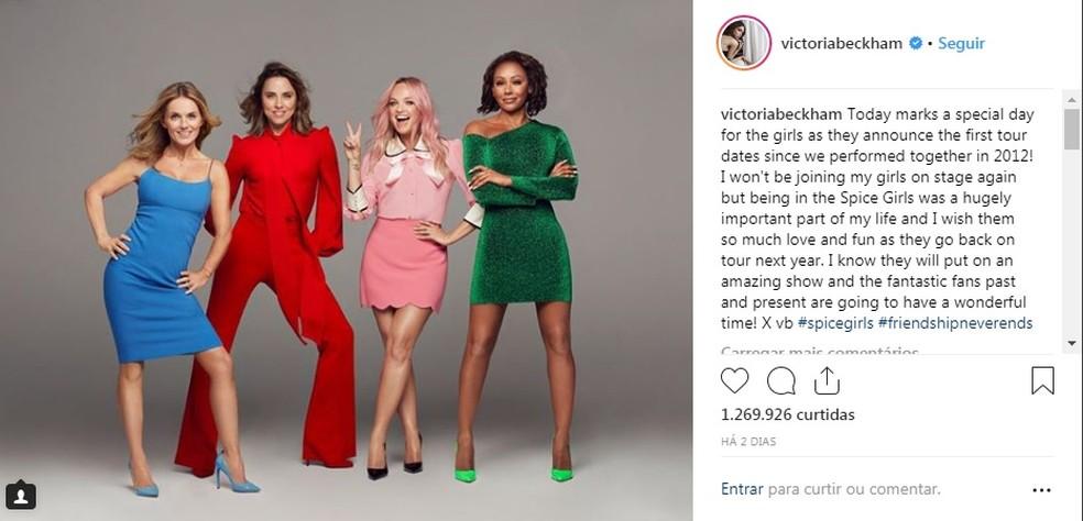 Victoria Beckham diz que não vai participar do retorno de Spice Girls — Foto: Reprodução/Instagram
