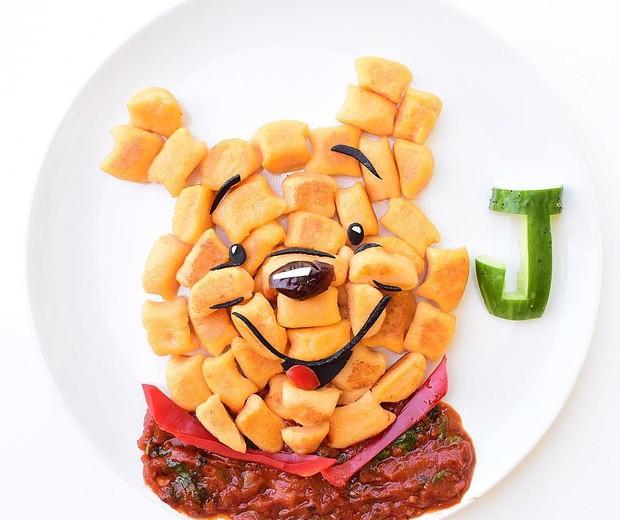 Ursinho Pooh | Feito com nhoque de batata doce e molho de espinafre (Foto: Reprodução/Instagram)