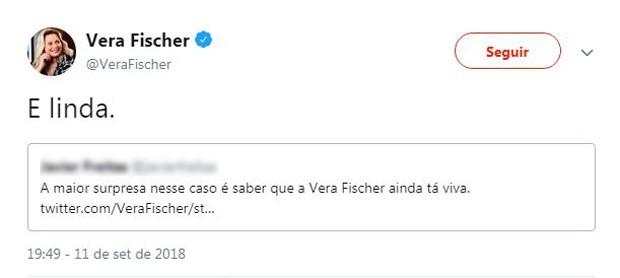 Vera Fischer esclarece que seu perfil nas redes sociais é verdadeiro (Foto: Reprodução / Twitter)