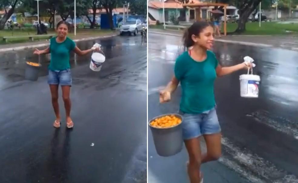 """Jovem vende cajá """"no grito"""" e montagem com música do cantor Léo Magalhães viraliza (Foto: Júlio Cesar/Arquivo pessoal)"""