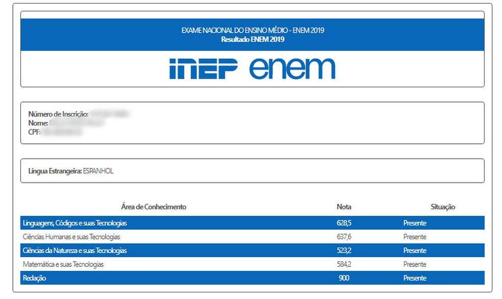 Resultado individual do Enem 2019 é divulgado — Foto: Reprodução/Inep