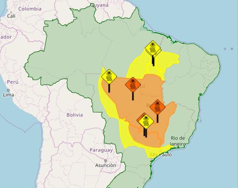 Mapa mostra área onde há alerta por baixa umidade (Foto: Reprodução)