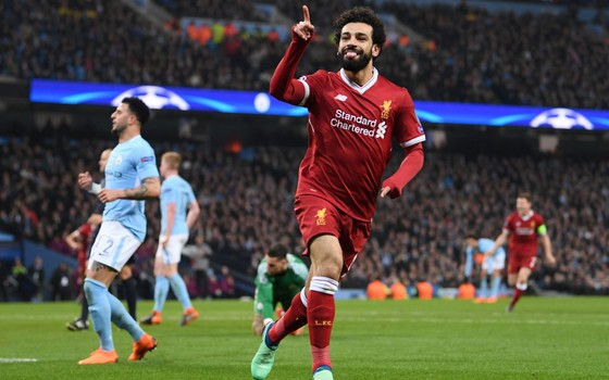 Mohamed Salah. O ponta do Liverpool marcou contra o Manchester City nas quartas de final da Liga dos Campeões (Foto: Getty Images)