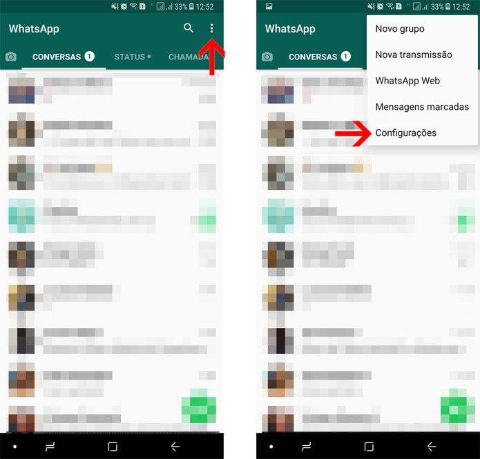 Abra as configurações do WhatsApp (Foto: Reprodução/Bruno De Blasi)