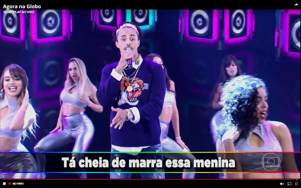 MC Livinho agitou o 'Domingão' (Foto: TV Globo)