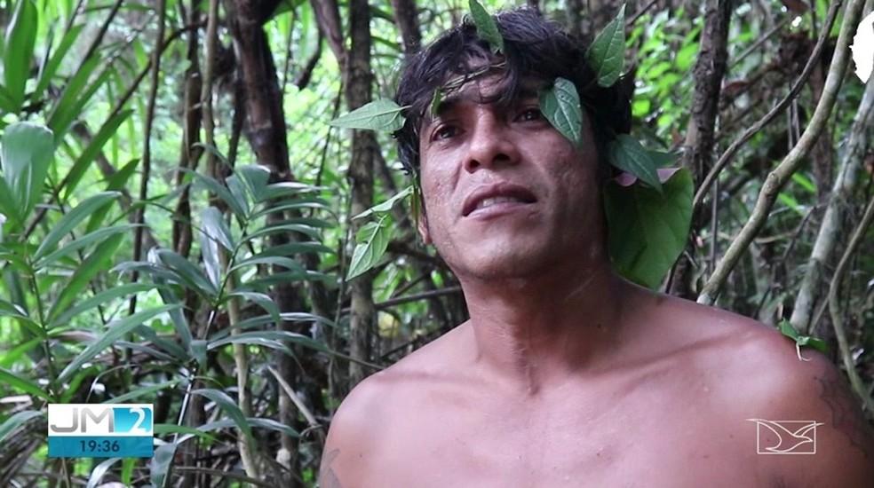 Laércio Guajajara fala sobre o trabalho constante travado pelos Guardiães da Floresta no Maranhão — Foto: Reprodução/TV Mirante