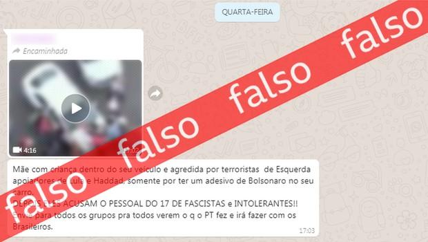 Notícia falsa espalhada pelo Whatsapp (Foto: BBC)