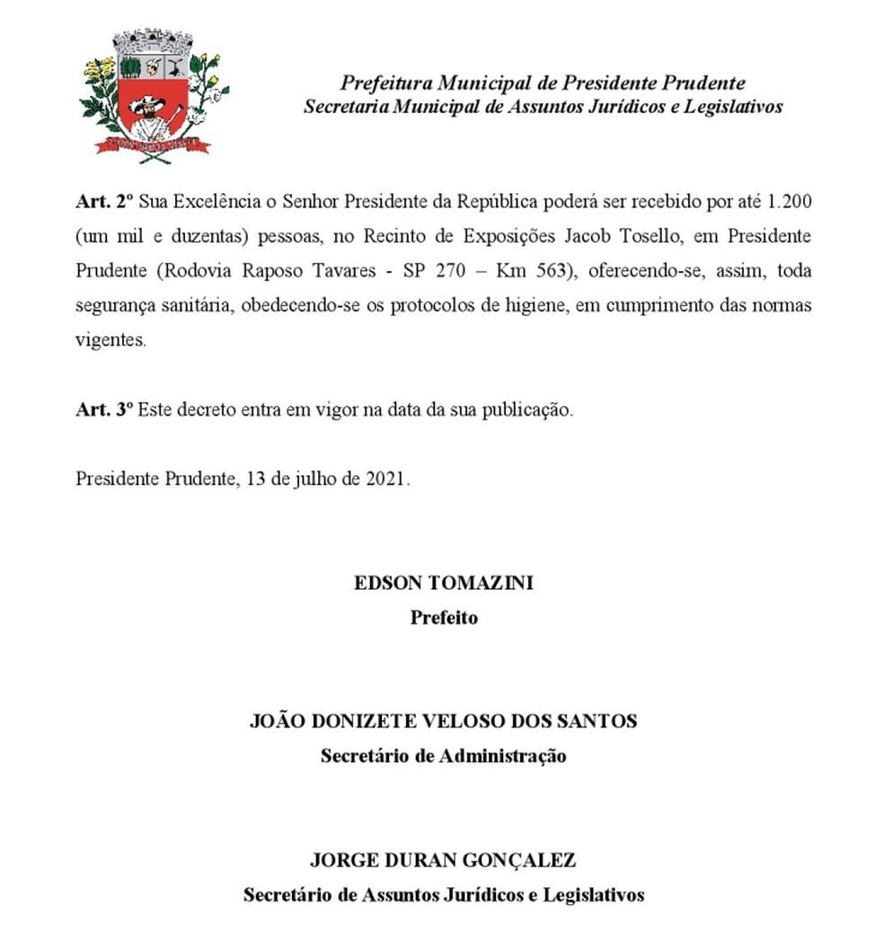 Decreto nº 32.177/2021, publicado no dia 14 de julho de 2021, permitiu a presença de 1.200 pessoas no evento com Bolsonaro no Recinto de Exposições de Presidente Prudente — Foto: Reprodução