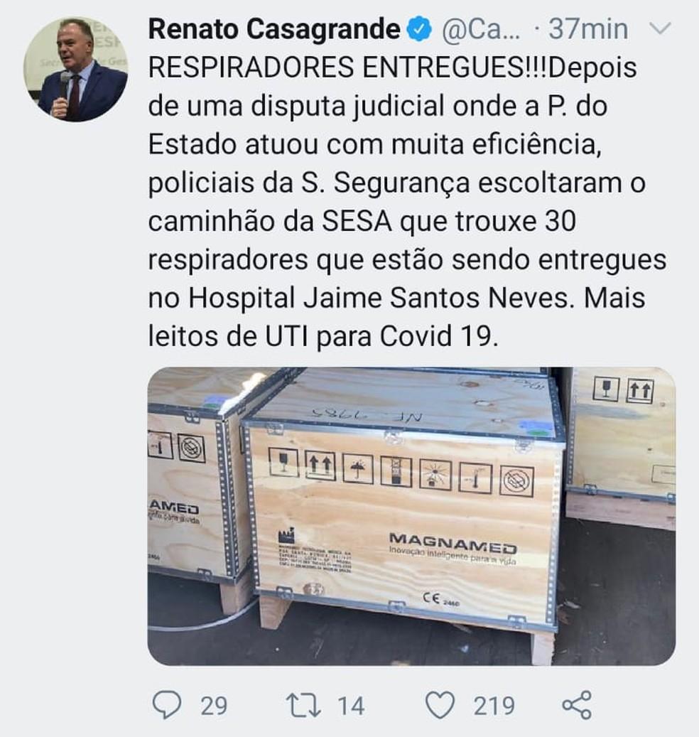 Casagrande anuncia chegada de 30 respiradores ao Espírito Santo — Foto: Twitter/Renato Casagrande