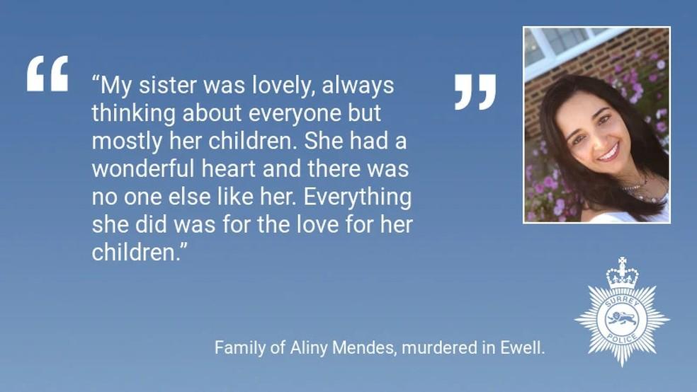 Tributo da família a Aliny, que foi assassinada por Ricardo. — Foto: Reprodução/Polícia de Surrey