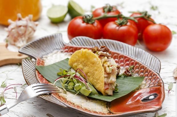 Tacos de ceviche com maçã verde (Foto: Vamos Receber )