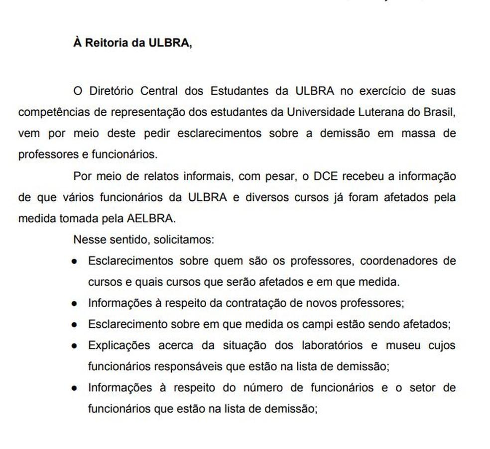 Em ofício, Diretório de Estudantes da universidade pede esclarecimentos à reitoria — Foto: Reprodução/Diretório Central dos Estudantes da Ulbra