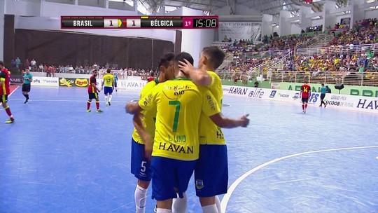 Os gols de Brasil 8 x 4 Bélgica pelo Grand Prix de futsal