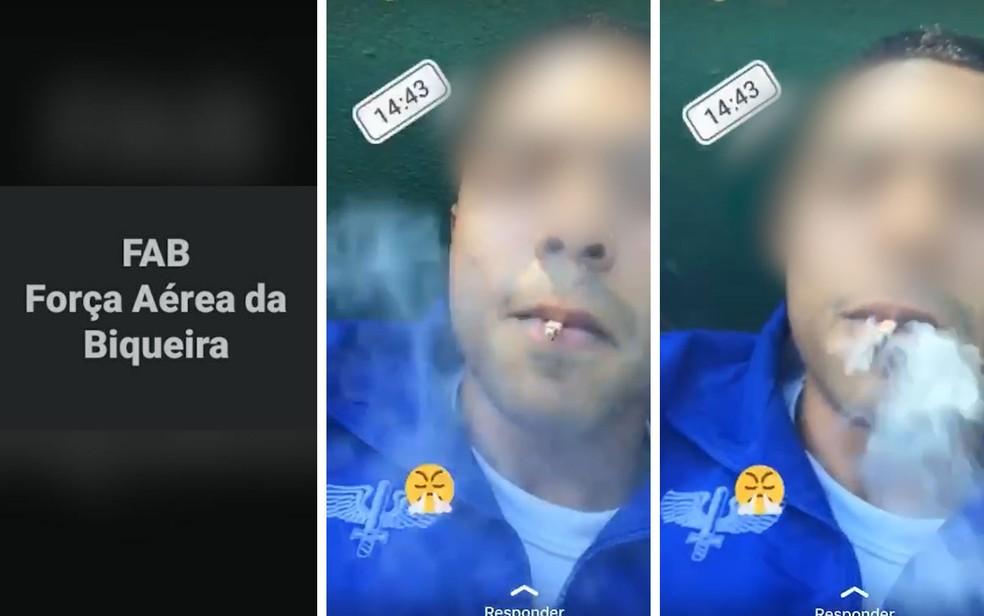 Força Aérea Brasileira apura imagens que a chamam de 'Força Aérea da Biqueira' e mostram soldado da Aeronáutica fumando. Setor de inteligência informa que cigarro não é de maconha, mas de palha — Foto: Reprodução/Redes sociais
