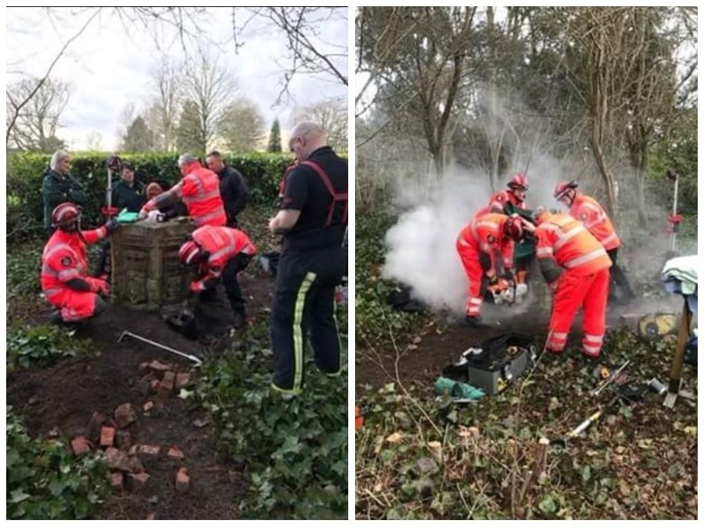 Os bombeiros resgatando Max (Foto: Reprodução Twitter)