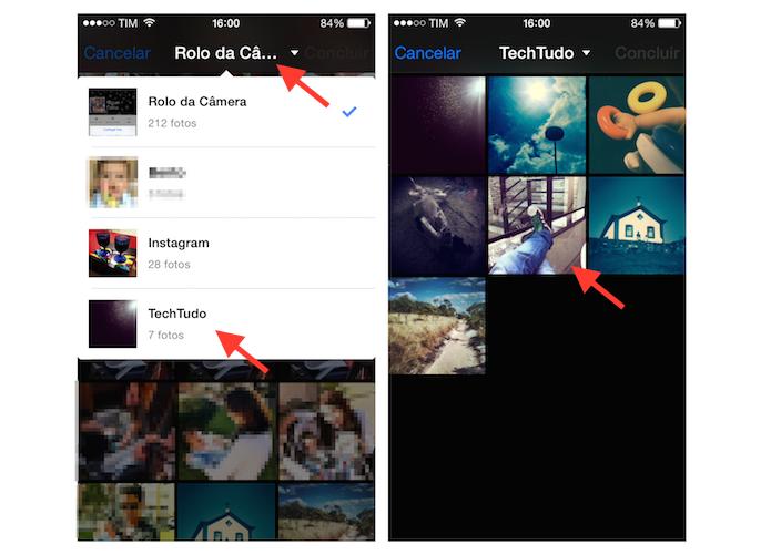 Escolhendo um álbum e uma foto do iPhone para utilizar como foto de perfil no Facebook (Foto: Reprodução/Marvin Costa)