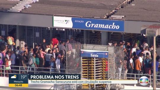 Circulação de trens está suspensa em trecho do ramal de Saracuruna na manhã desta terça