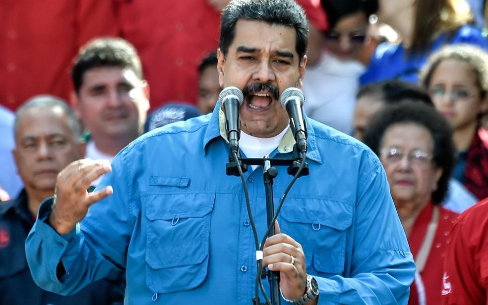 -  O presidente da Venezuela, Nicolás Maduro, durante ato público em Caracas na terça-feira  23   Foto: Juan Barreto/AFP