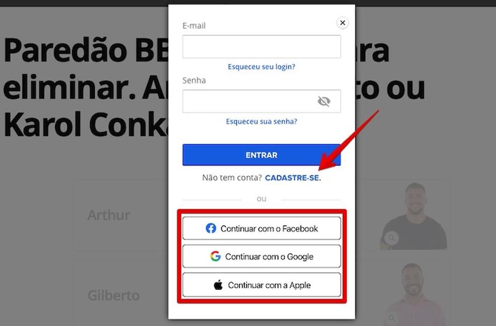 Gshow BBB 2021: votar no paredão é possível após fazer login na Globo.com — Foto: Reprodução/Helito Beggiora