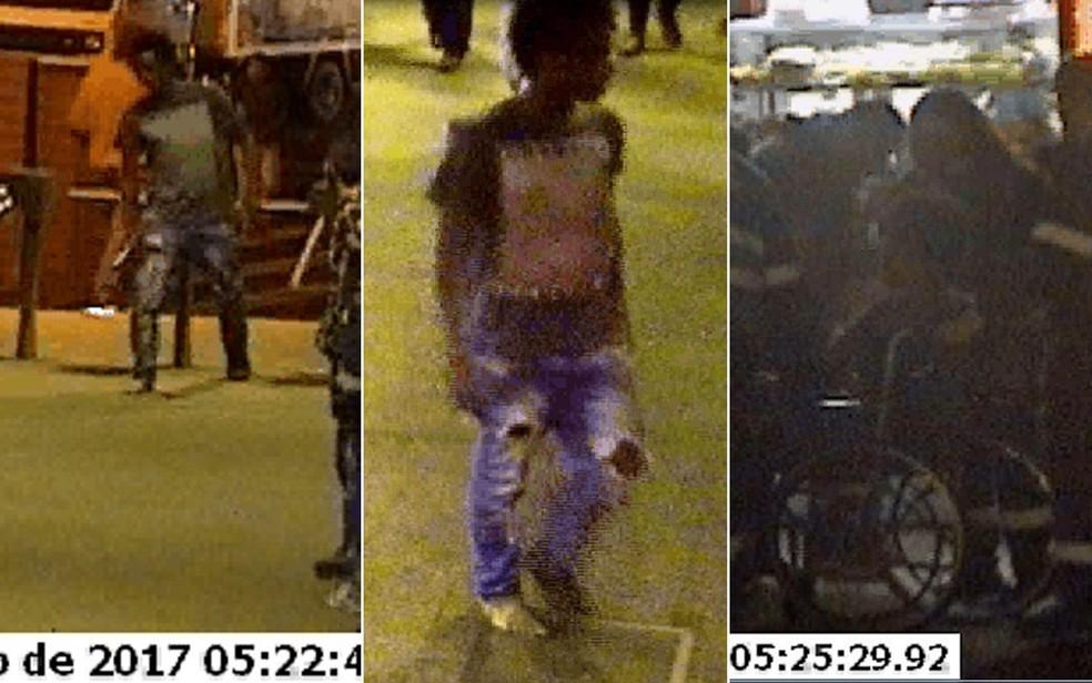Diovo volta ao terminal após ser agredido, está cambalendo (esquerda), sem um pé de sapato (no meio) e é colocado por seguranças em uma cadeira de rodas (à direita) (Foto: Reprodução/Câmeras de segurança)
